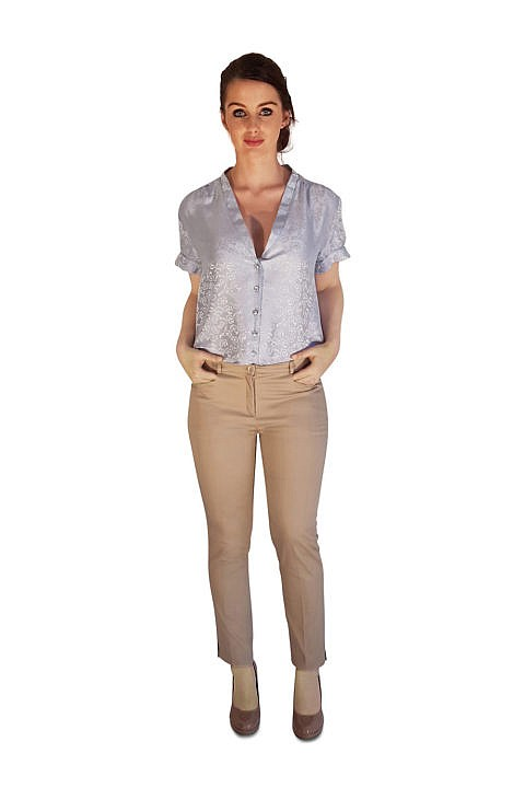 beige 7/8 cigarette pants | blue silk blouse | ASITA SAHABI