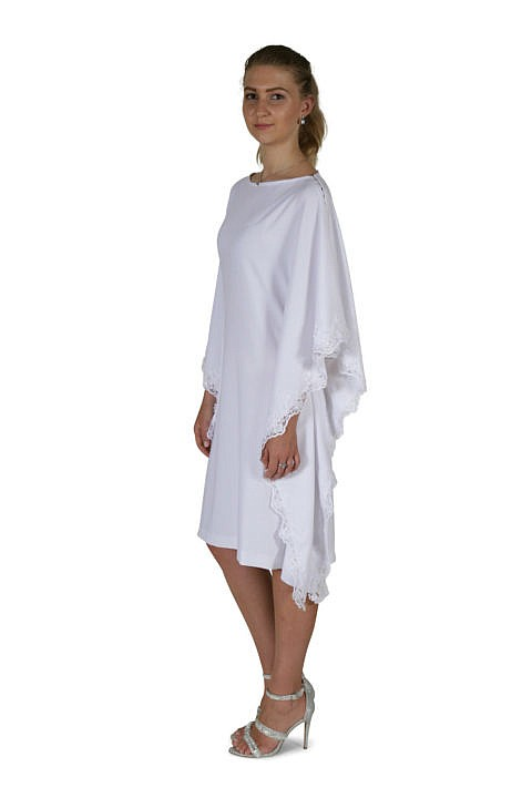dress with embroidered lace trim in white viscose crepe