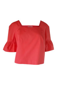 coral cotton blouse with ruffles | Asita Sahabi