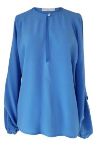 blue silk blouse with long sleeves | ASITA SAHABI