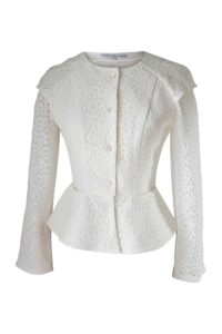 long sleeved blouse in ivory cotton lace