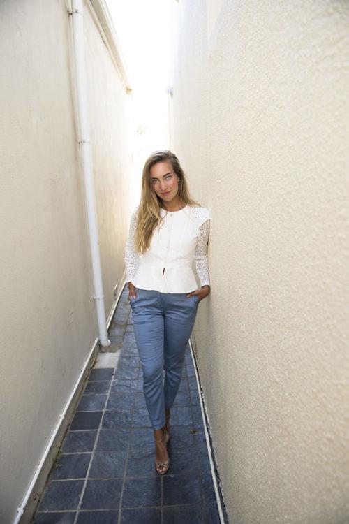 ivory lace blouse ELENA | ice blue cotton pants ESTHER