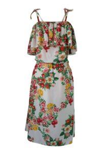 floral printed cotton midi dress in A-Line | ASITA SAHABI