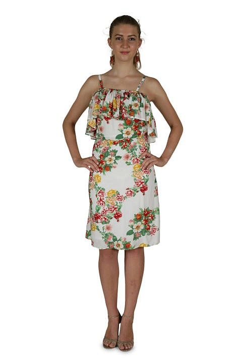 Flower dress with large volant in embroidered cotton