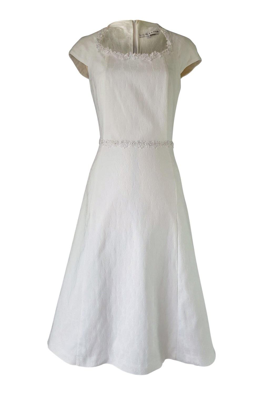 ddd44d4717 ivory midi dress with lace trim in cotton jacquard fabric KIANA ...