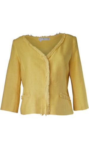 yellow Bouclé jacket with fringes | ASITA SAHABI