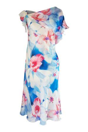 floral printed silk midi dress with ruffles | ASITA SAHABI