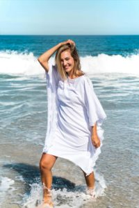 ASITA SAHABI white viscose kaftan dress with lace embroidery