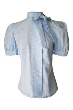 blue secretary blouse with polka dots and puff sleeves