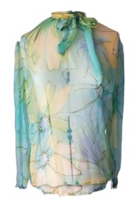 floral printed green silk chiffon blouse with a bow