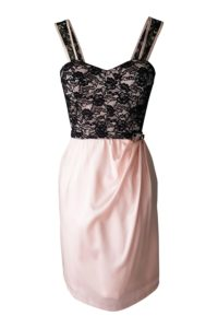 rosé cocktail dress with black lace | pink strap dress
