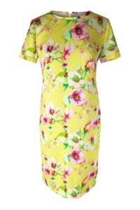 gelbes Seidenkleid mit Blumen | florales Cocktailkleid