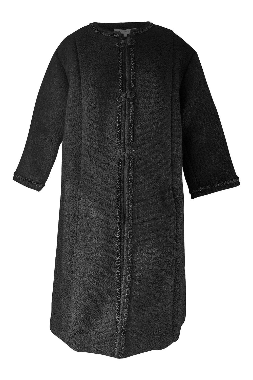 schwarzer boucl mantel mit perlen und posamenten aurelia. Black Bedroom Furniture Sets. Home Design Ideas