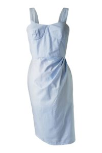ASITA SAHABI light blue cotton bustier dress with polkadots