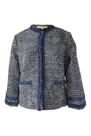 ASITA SAHABI Bouclé jacket with fringes in blue and white