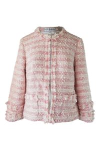 ASITA SAHABI bouclé jacket with fringes in rosé and ecru