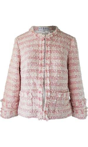 ASITA SAHABI bouclé jacket with fringes in rosé and ecru