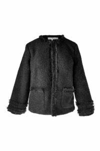 schwarze Bouclé-Jacke mit Fransen | ASITA SAHABI