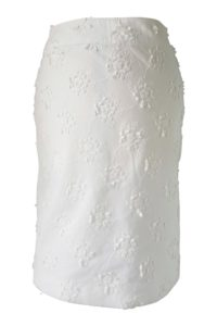 white cotton midi skirt with 3D-flowers in | ASITA SAHABI