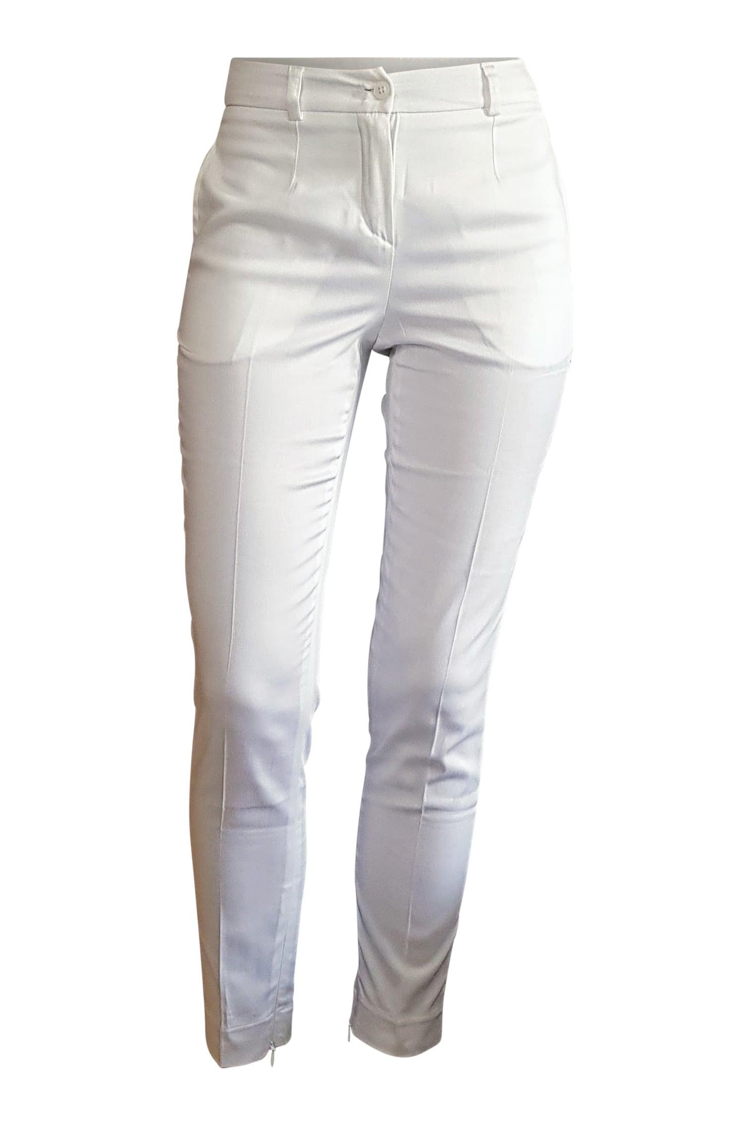 da18003361 7 8 cigarette pants in white cotton stretch ESTHER