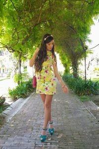 short yellow floral printed silk satin dress   ASITA SAHABI