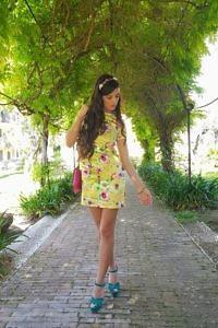 short yellow floral printed silk satin dress | ASITA SAHABI