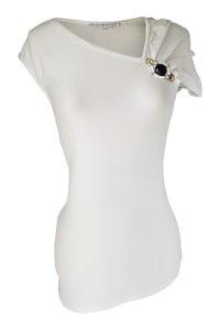 asymmetrisches weisses T-Shirt mit Brosche und Drapierung | ASITA SAHABI