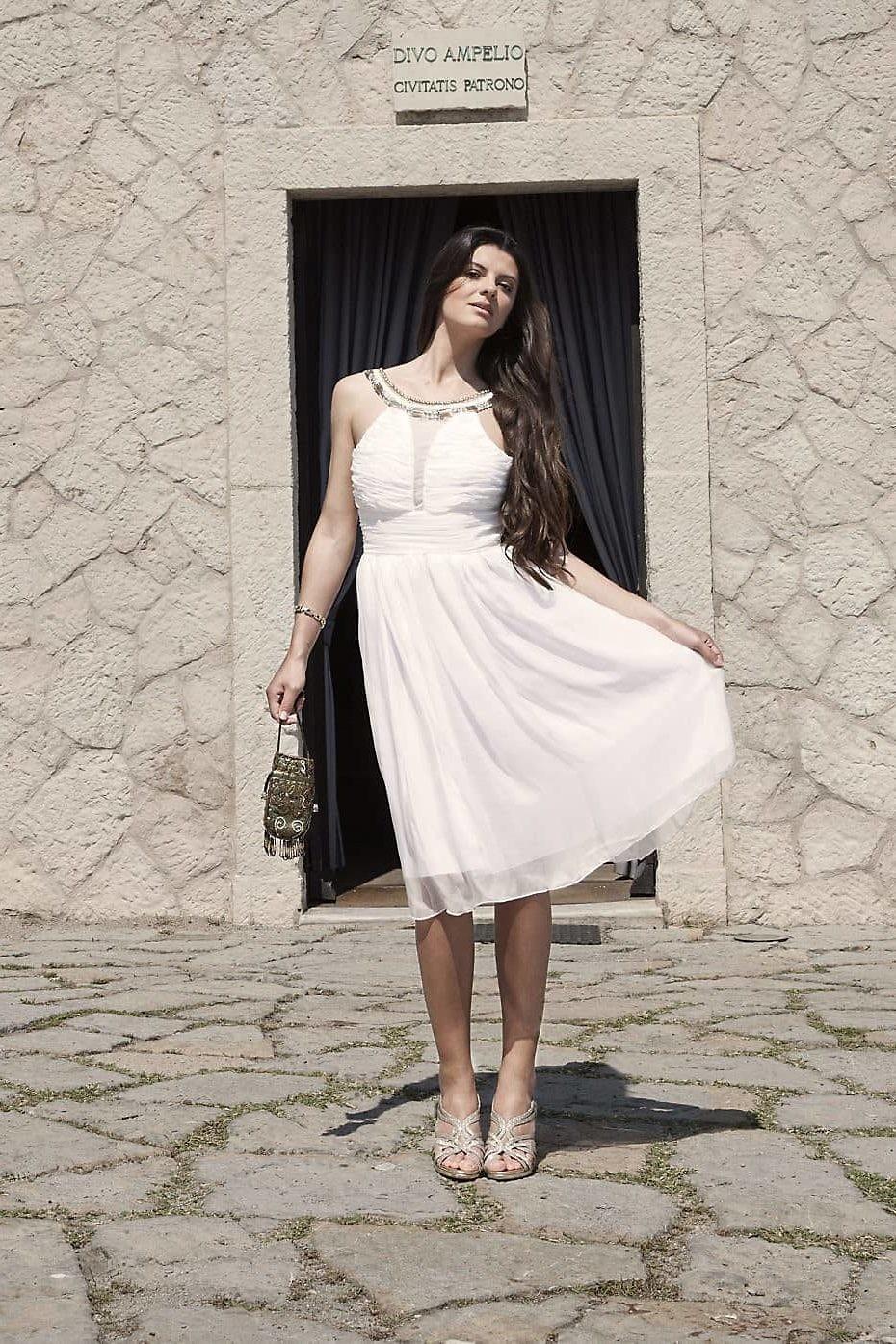 weisses Midikleid aus Seidenchiffon | Hochzeitskleid | ASITA SAHABI