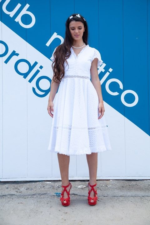 white cotton dress in princess-line | ASITA SAHABI