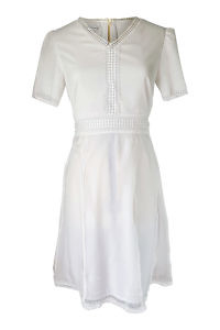 cremeweisses A-Linien-Kleid mit Spitzenapplikationen | ASITA SAHABI
