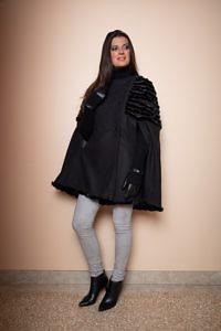 schwarze lange Handschuhe | schwarzes Wollcape Nerz | ASITA SAHABI