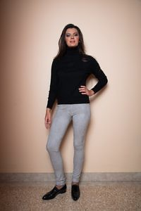 black cashmere turtleneck sweater | grey skinny pants