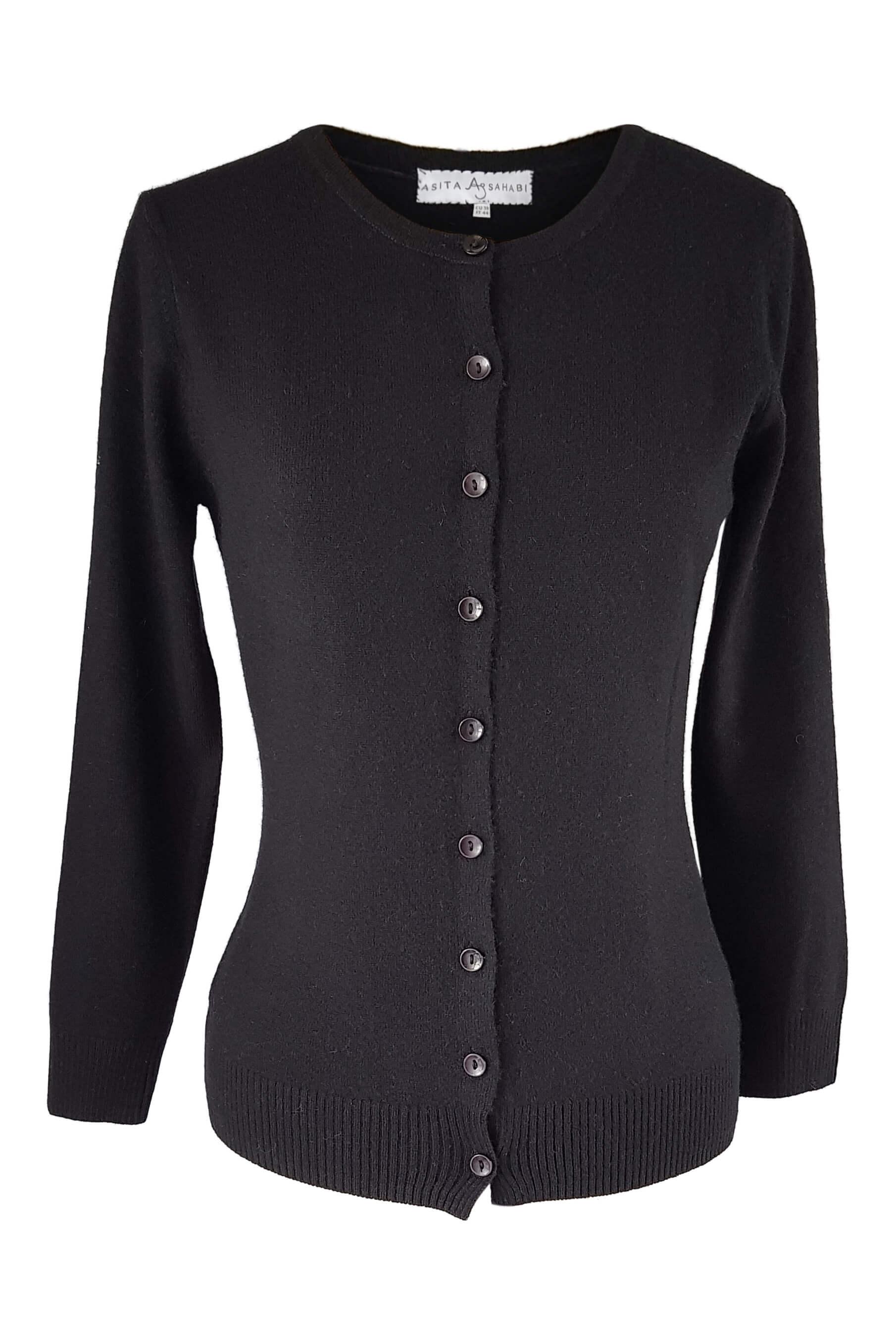 black cashmere cardigan | fine knitwear