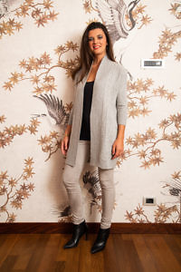 long grey cashmere cardigan | designer knit wear