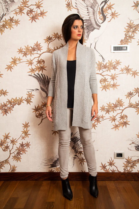 long grey cashmere cardigan | fine knitwear