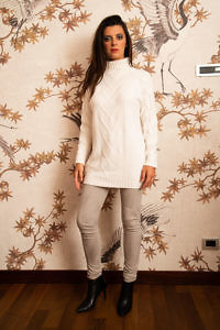 white premium quality cashmere turtleneck sweater CARINA