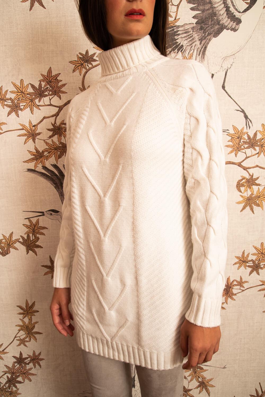 white premium quality cashmere turtleneck sweater CARINA