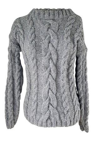 grey hand knitted alpaca sweater   luxury winter wear