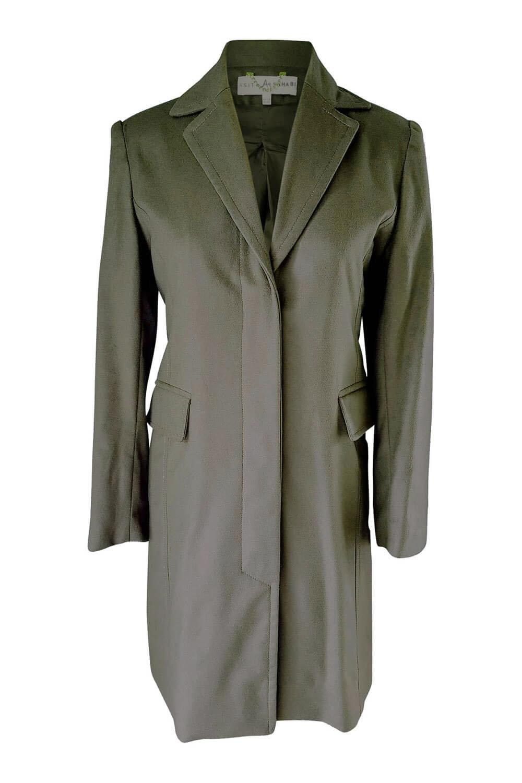 olive green blazer coat in a light cashmere wool blend CLARISSA