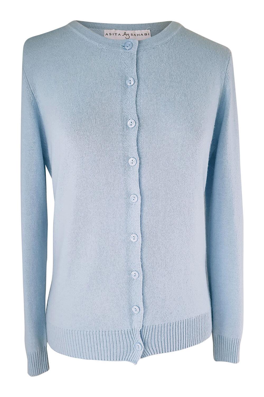 light blue premium quality cashmere cardigan FILICETTA