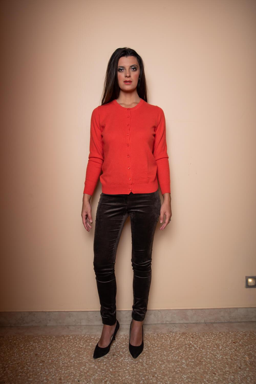 orange cashmere cardigan   luxury basics