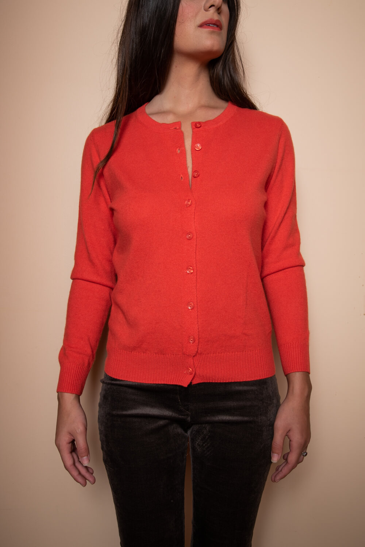 red cashmere cardigan | fine knitwear