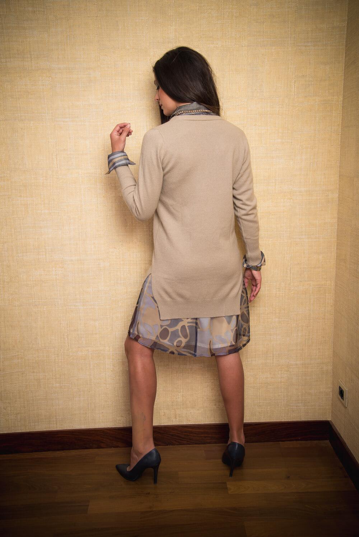 long beige cashmere cardigan | fine knitwear