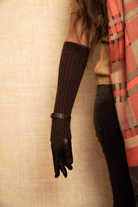 braune lange Lederhandschuhe COCO | ASITA SAHABI