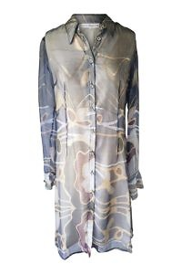 blaues Chiffonkleid aus Seide | elegante Tageskleider | ASITA SAHABI