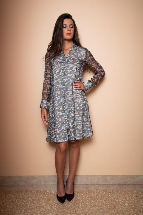 Herbst Hemdblusenkleid | Seidenkleid mit langen Ärmeln | ASITA SAHABI