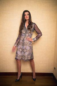 blaues A-Linien-Kleid aus Seidenchiffon | elegante Tageskleider | ASITA SAHABI