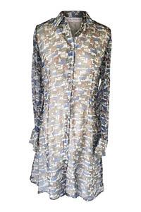grün-blaues Chiffonkleid aus Seide | Hemdblusenkleider | ASITA SAHABI