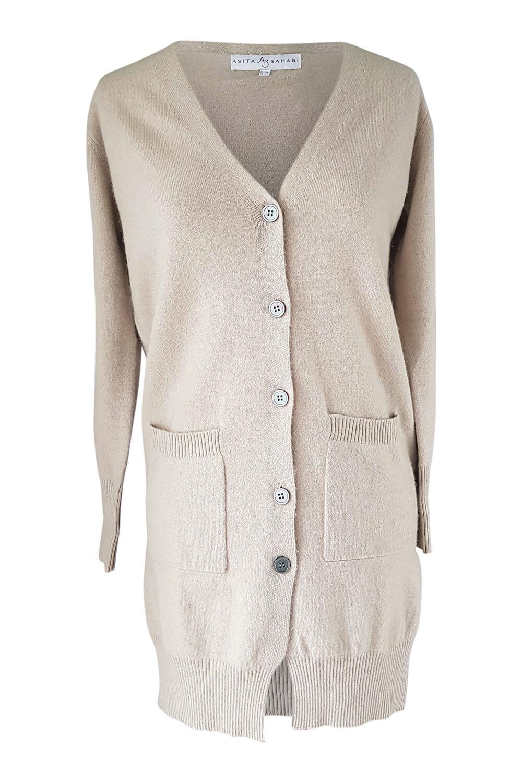long beige cashmere cardigan with V-neck