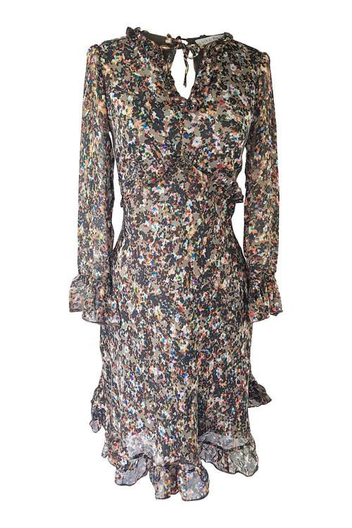 braunes Seidenkleid mit Rüschen | exklusive Kleider Schweiz | ASITA SAHABI